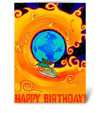 Surfing on the Sun greeting card