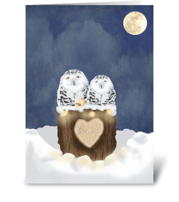 Peace Owls greeting card