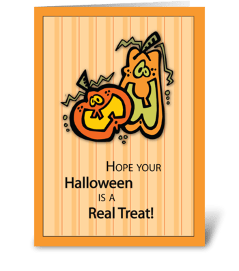 Pumpkins Halloween Treat greeting card