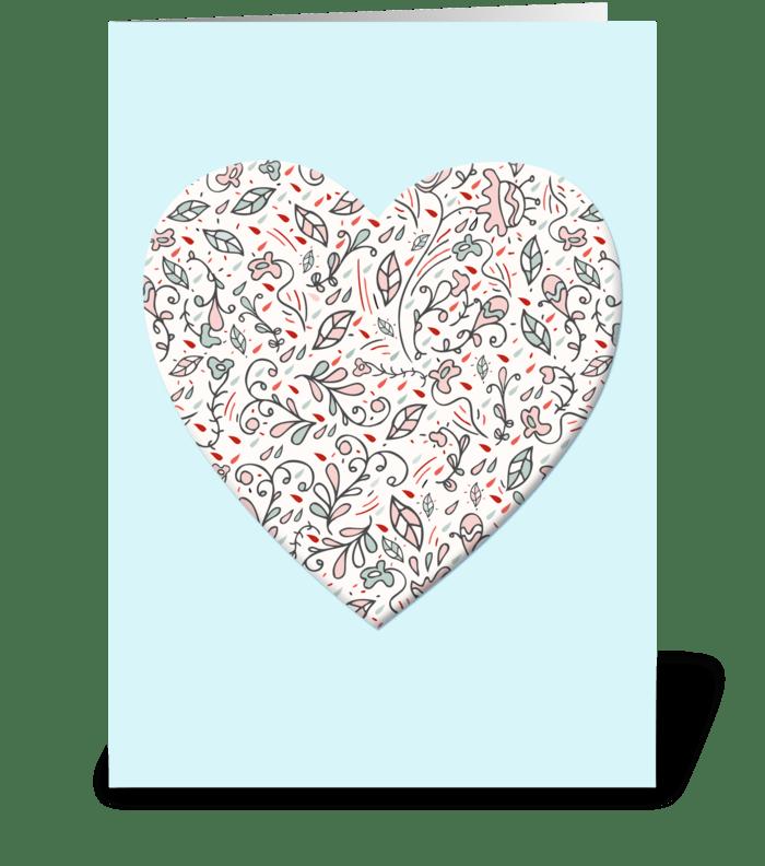 Sweet Vintage Flower Heart greeting card