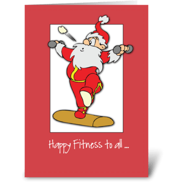 Happy Fitness Exercise Christmas Santa greeting card