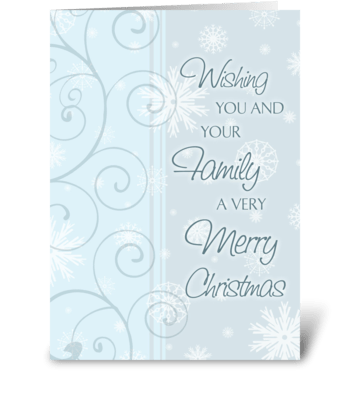 Merry Christmas Light Blue Swirl greeting card