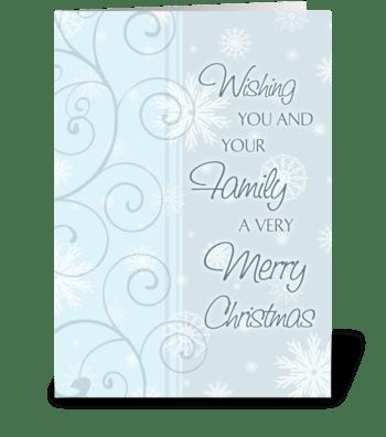 Merry Christmas Light Blue Swirl greeting card