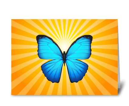 Blue Butterfly with Sunlight greeting card