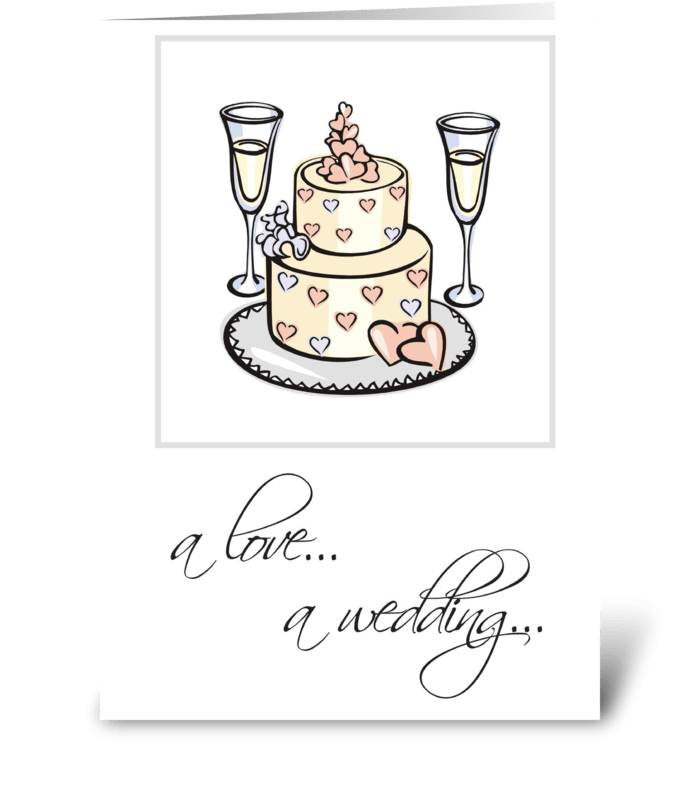 Wedding Congratulations, Cake, Champagne greeting card