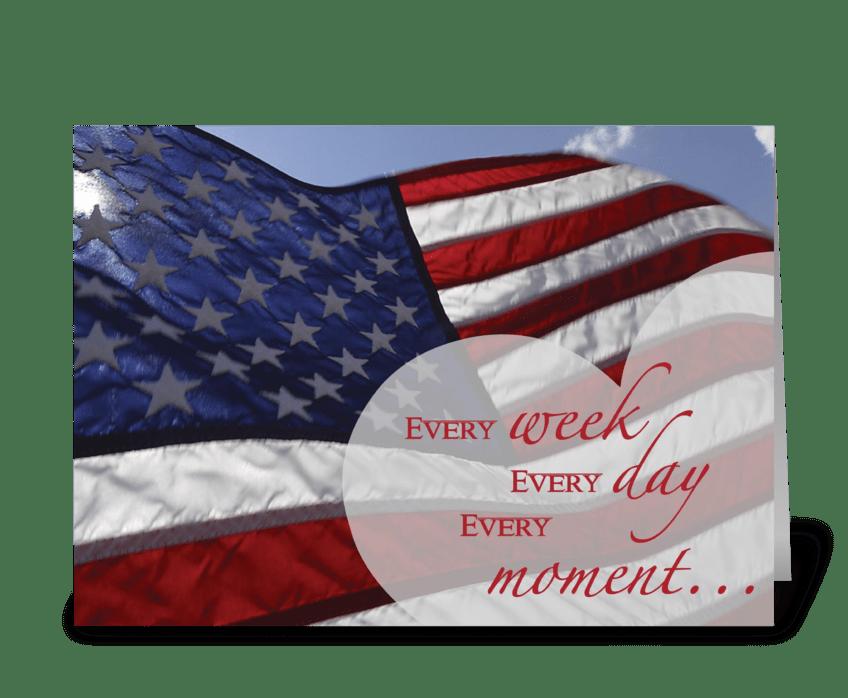 3303 July 4th Thankful Flag, Heart greeting card