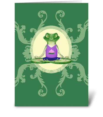Yogi Frog with Lotus greeting card