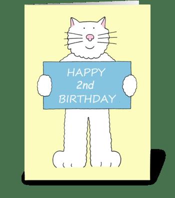 Happy 2nd Birthday cute cartoon cat. greeting card