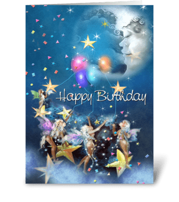 Moon Faeries, Birthday Wishes greeting card